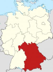 Die Lage von Bayern auf der Deutschlandkarte