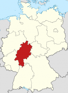 Die Lage von Hessen auf der Deutschlandkarte